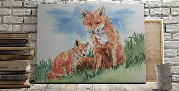 Obraz lisy na łące
