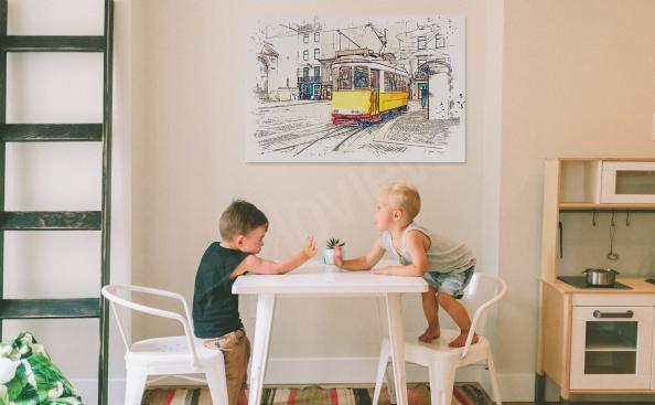 Obraz Lizbona i żółty tramwaj
