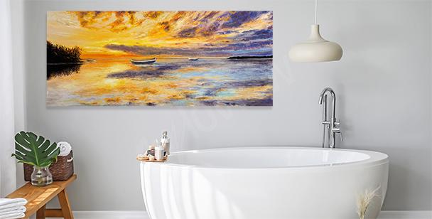 Obraz łódź i słońce