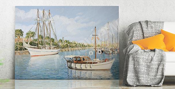Obraz łodzie w Barcelonie