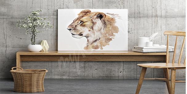 Obraz lwica akwarela