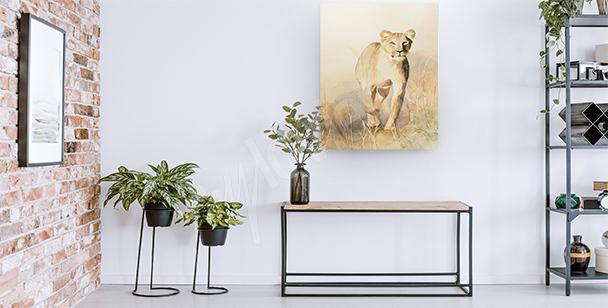 Obraz lwica na sawannie