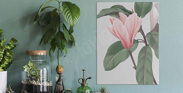 Obraz tryptyk z magnolią