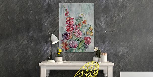 Obraz malowanych polnych kwiatów