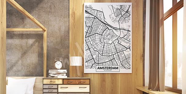 Obraz mapa Amsterdamu