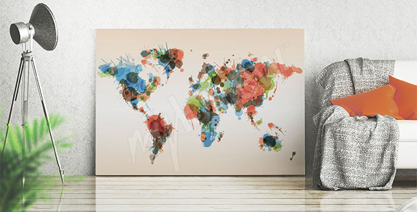 Obraz mapa plamy kolorów
