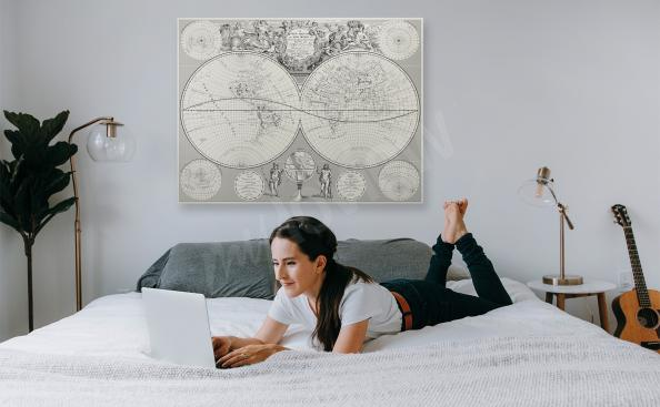 Obraz mapa retro do sypialni