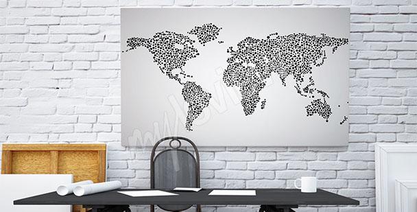 Obraz mapa świata czarno-biała