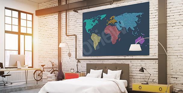 Obraz mapa świata z kropek