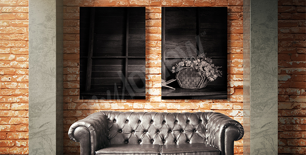 Obraz martwa natura czarno-biały