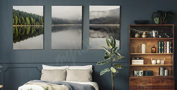 Obraz mgła nad jeziorem