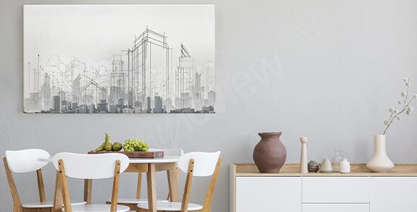 Obraz miasto naszkicowane ołówkiem