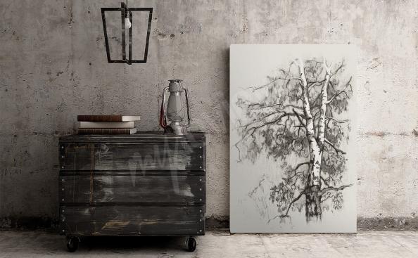 Obraz minimalistyczny szkic brzozy