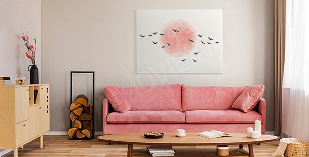 Obraz minimalistyczny z ptakami