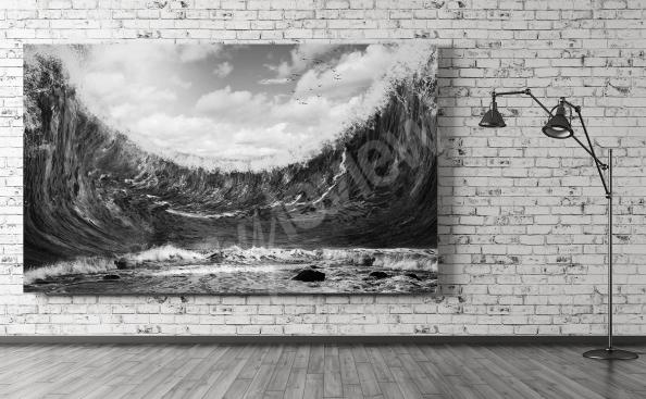 Obraz morze czarno-biały