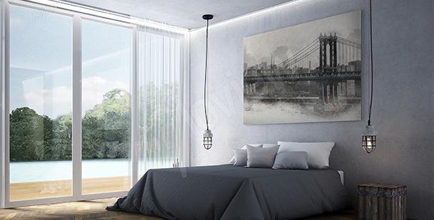 Obraz most na tle Nowego Jorku