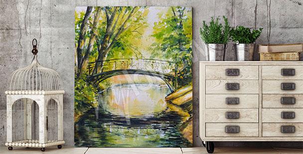 Obraz most wśród drzew