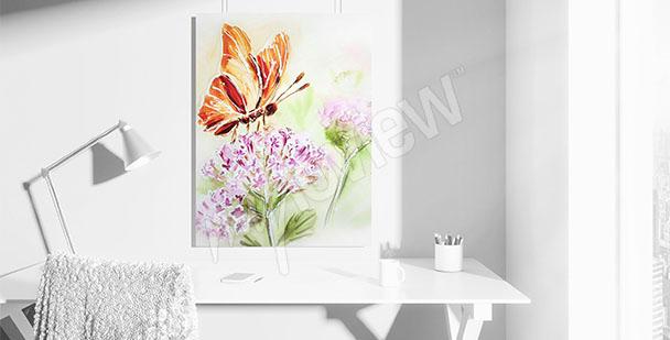 Obraz motyl na kwiatku