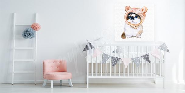 Obraz biały kot do sypialni