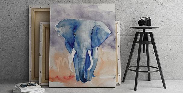Obraz niebieski słoń
