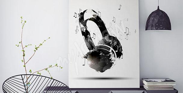 Obraz nuty i słuchawki