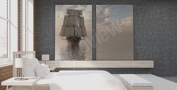 Obraz odpływający statek