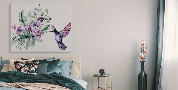 Obraz orchidea i koliber