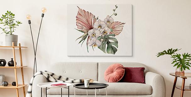 Obraz orchidea i monstera