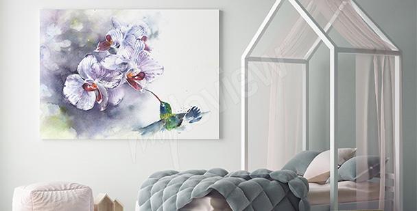 Obraz orchidea ręcznie malowana