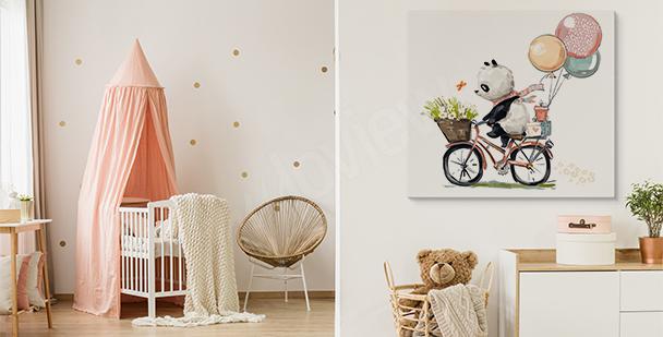 Obraz panda na rowerze