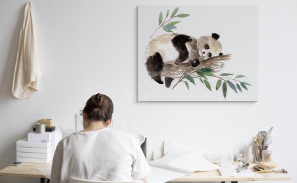 Obraz panda śpiąca na drzewie