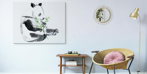 Obraz panda z gałązką