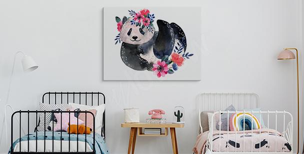 Obraz panda z roślinnością