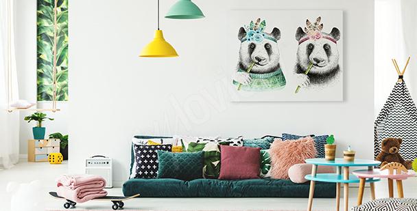 Obraz pandy w stylu boho
