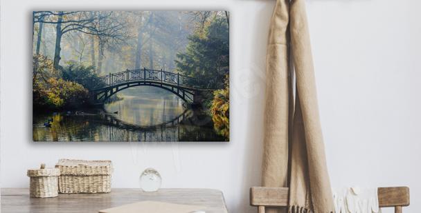 Obraz park z mostem