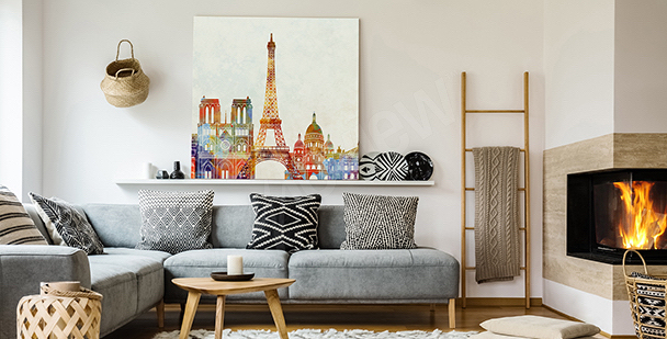 Obraz panorama Paryża szkic