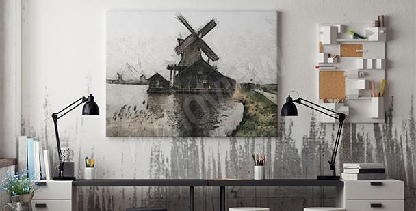 Obraz pejzaż z wiatrakiem
