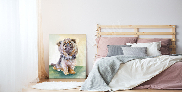Obraz z psem do salonu