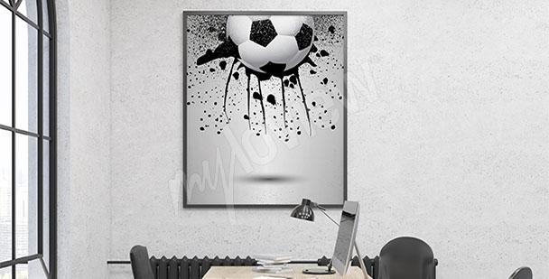 Obraz piłka nożna czarno-biały