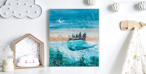 Obraz podróż wieloryba i lisa