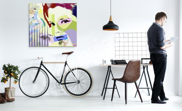 Obraz pop art z kolorowym portretem kobiety