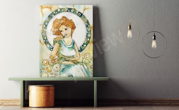 Obraz portret kobiety akwarela