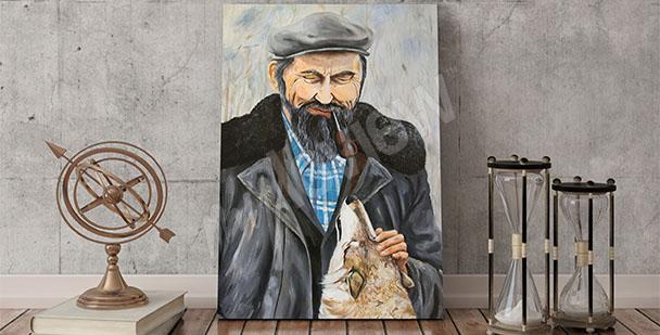 Obraz portret mężczyzny z psem