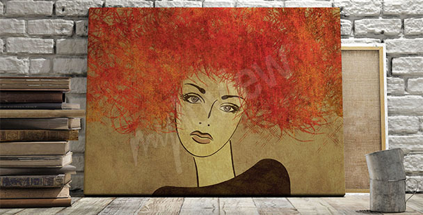 Obraz portret rudowłosej kobiety