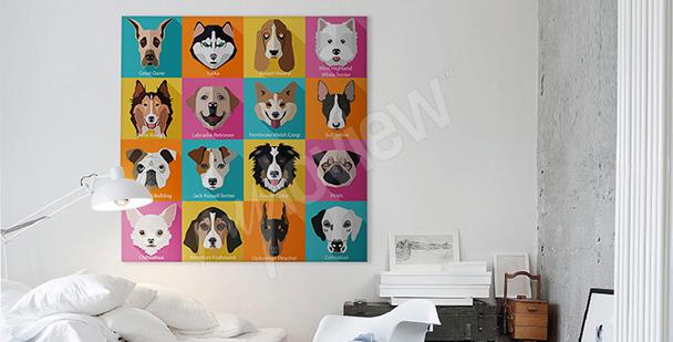 Obraz psy styl pop-art