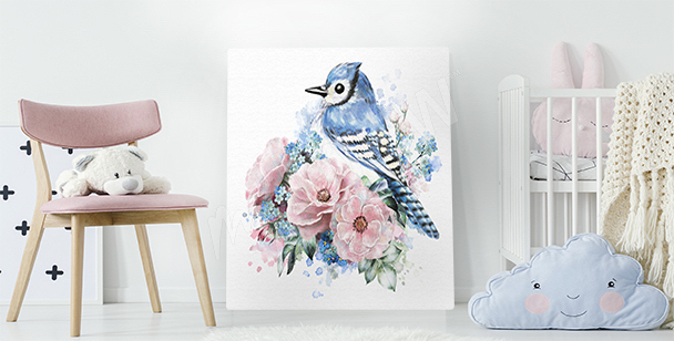 Obraz ptak i róże