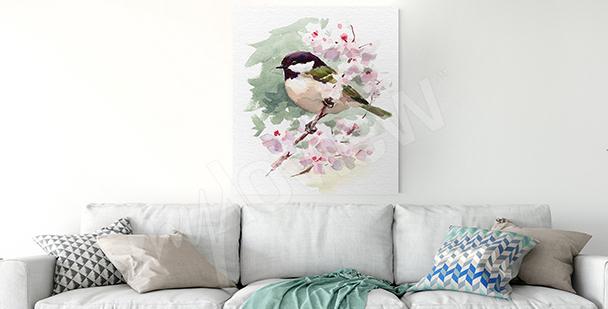 Obraz ptak na gałęzi