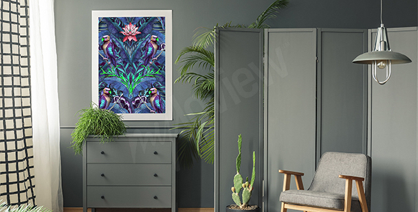 Obraz ptaki i liście