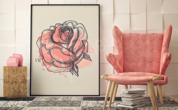 Obraz róża artystyczny szkic