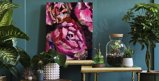 Obraz róże malowane na ciemnym tle
